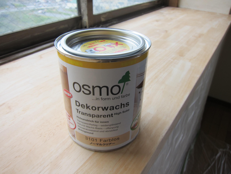 出窓の天板の補修 オスモノーマルクリアー